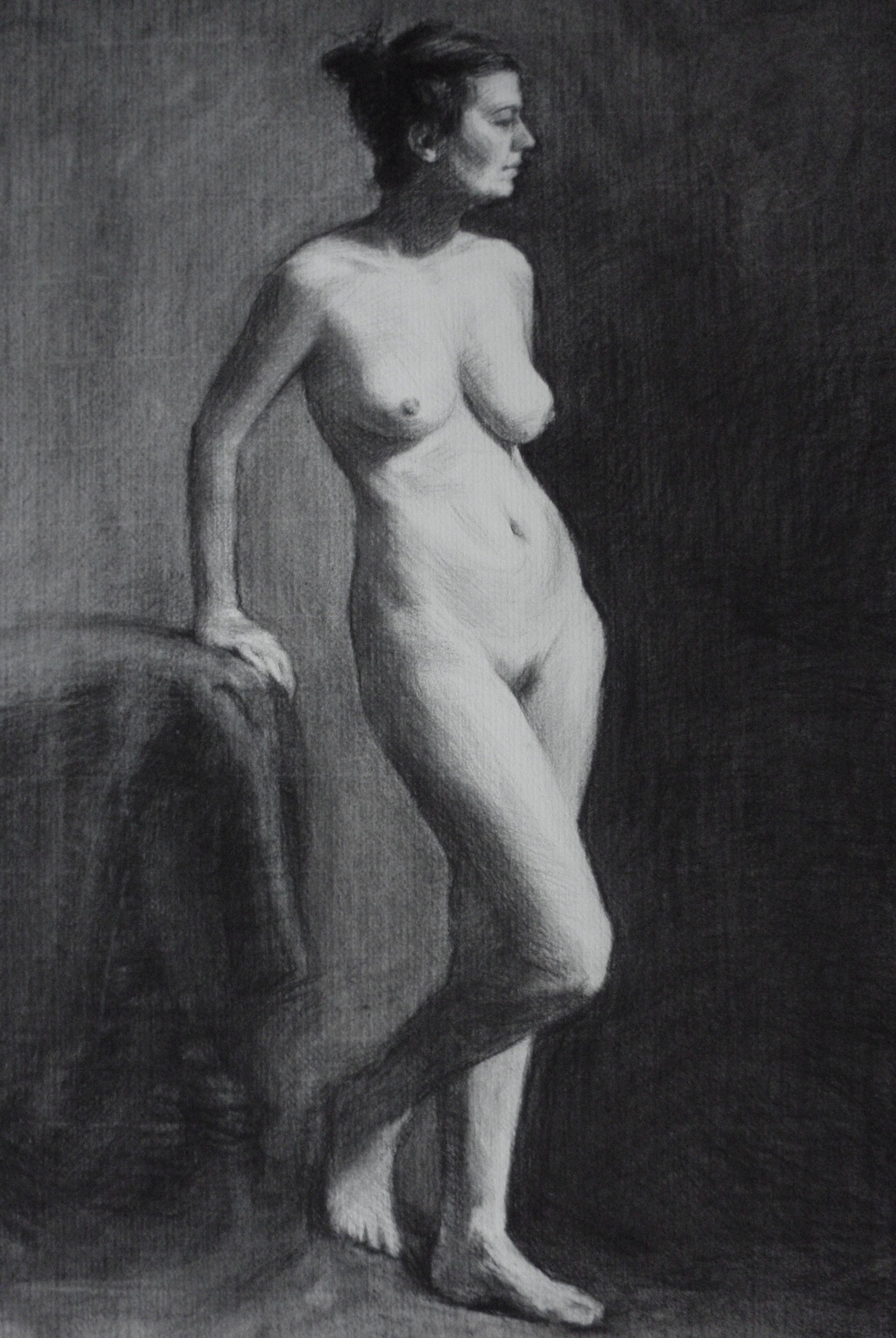 Myriam charcoal nude study