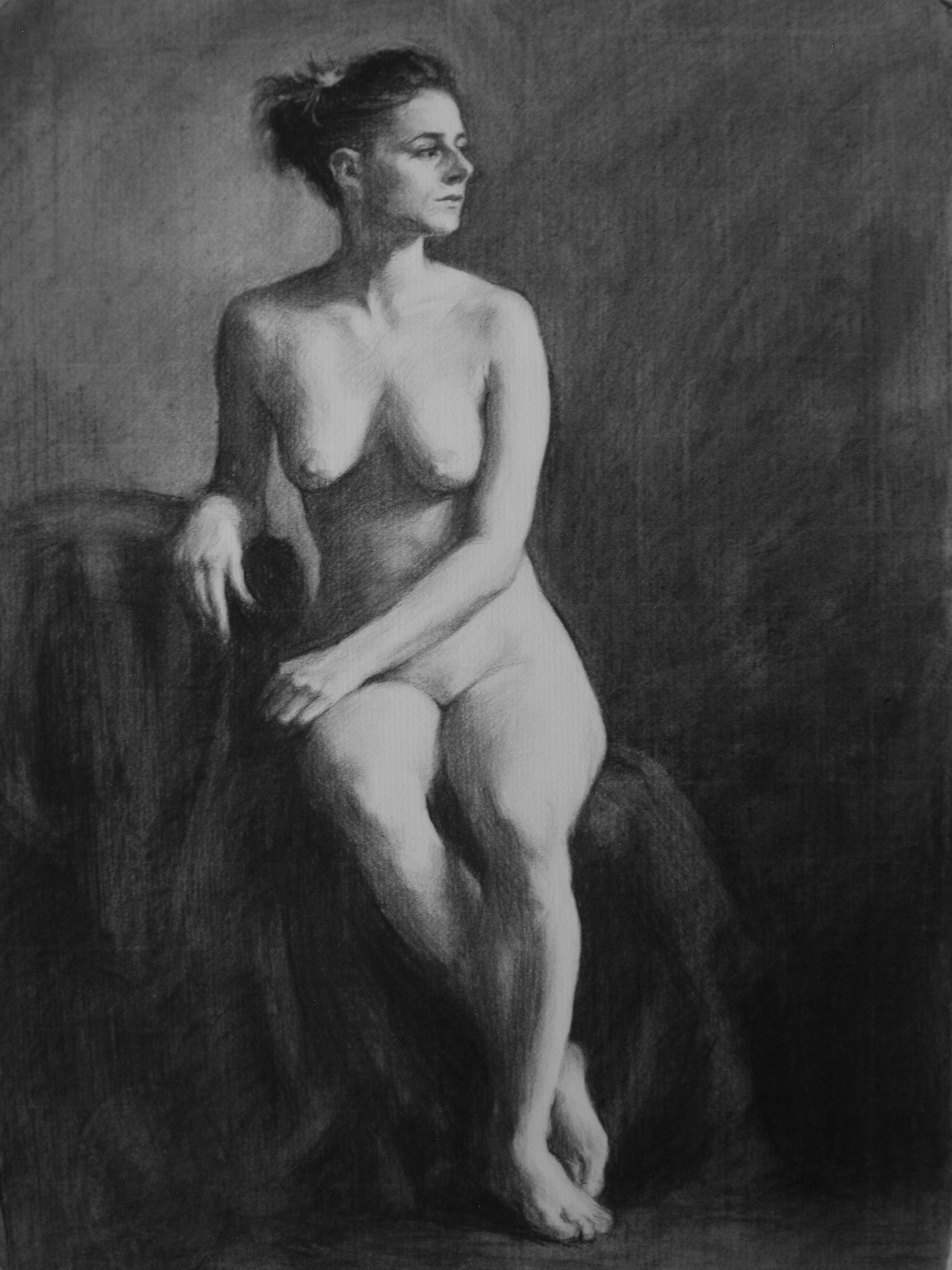 Charcoal Nude seated study