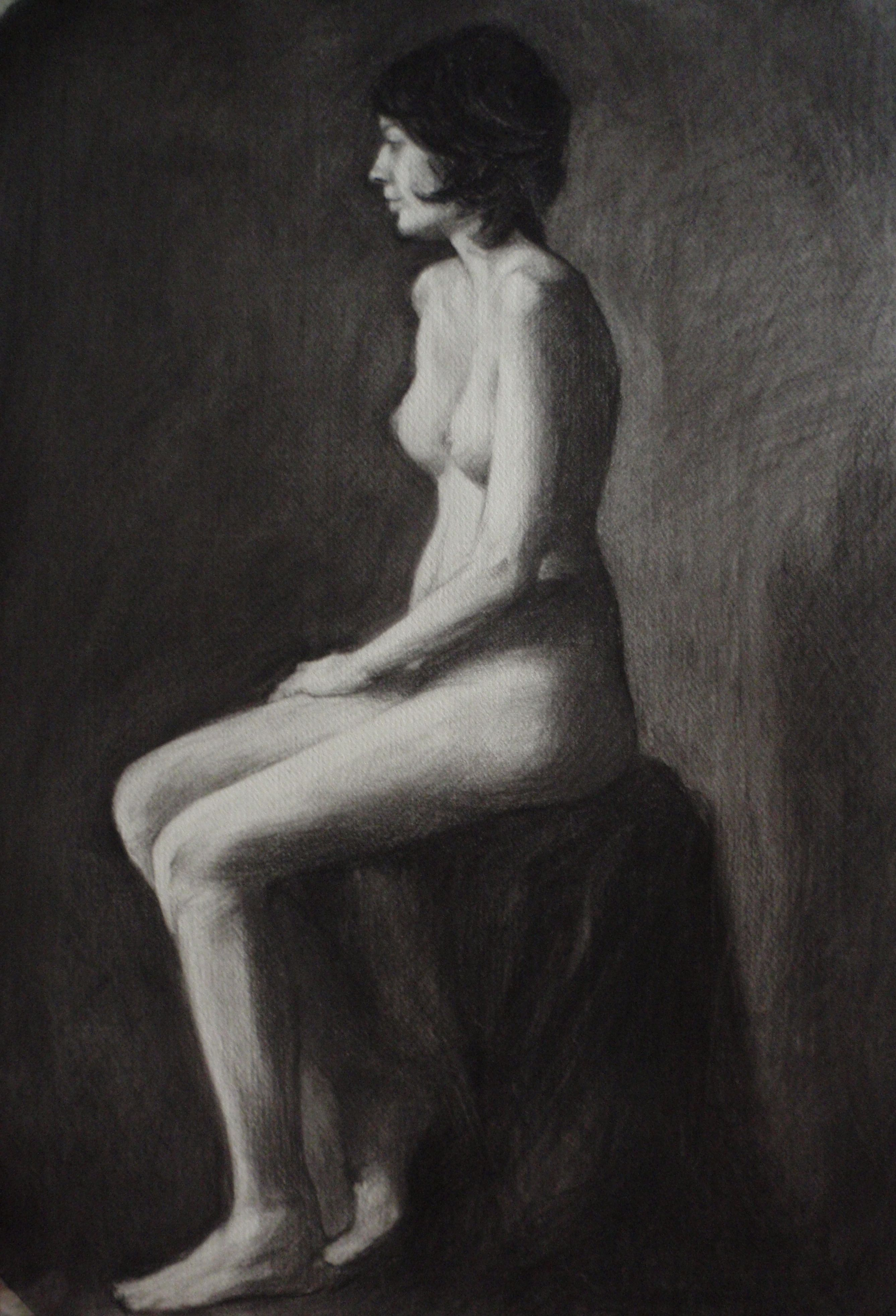 Charcoal seated study 2